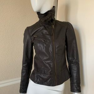 ALLSAINTS NEW! Dark Brown Leather Fitted Jacket 4